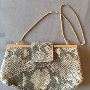 Banana Republic Reptile Embossed Clutch with Chain